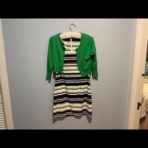 Dress Barn Dress Set Navy & Green